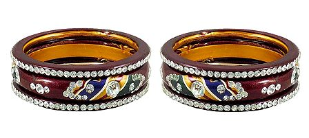 Set of 2 Stone Studded Multicolor Lac Bangles
