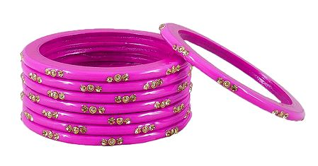 Magenta Lac Bangles with Stone