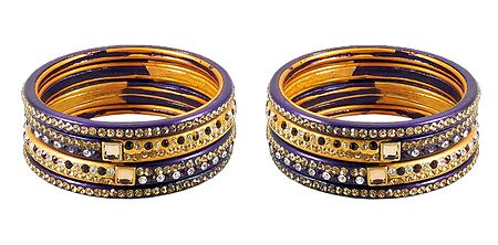 Set of 2 Stone Studded Purple with Yellow Lac Bangles