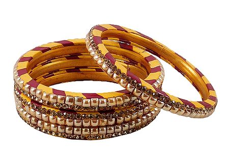 4 Stone Studded Red with Yellow Lac Bangles