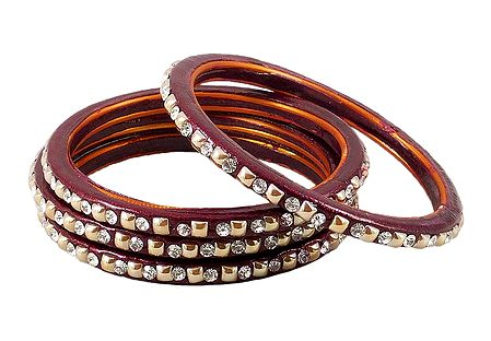 Stone Studded Maroon Lac Bangles