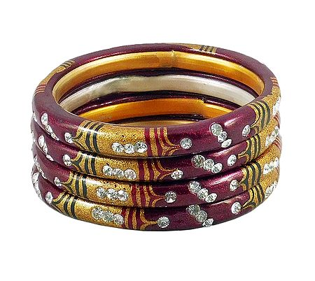 White Stone Studded Maroon with Yellow Painted Lac Bangles