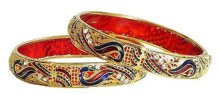 Pair of Gold Plated Meenakari Bangles