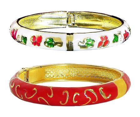 Set of 2 Red and White Meenakari Hinged Metal Bracelet