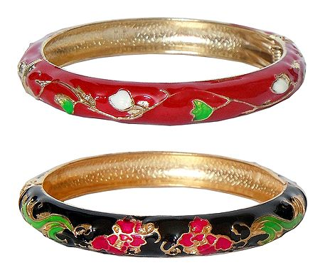 Set of 2 Red and Black Meenakari Hinged Metal Bracelet