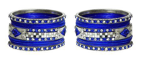 Set of 2 White Stone Studded Royal Blue Metal Bangles