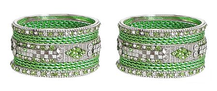 Set of 2 Stone Studded Green Metal Bangles