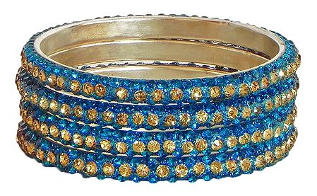 4 Cyan with Golden Stone Studded Metal Bangles