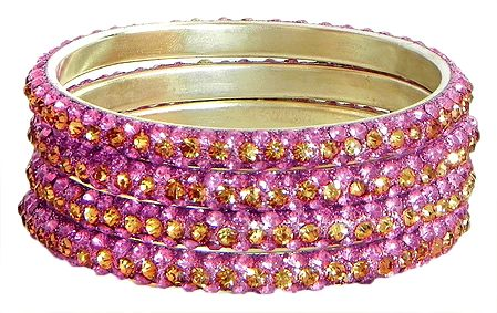 Four Pink with Golden Stone Studded Bangles