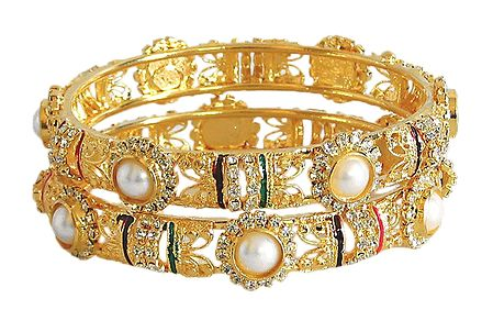 Pair of Faux Pearl and Zirconia Studded and Meenakari Gold Plated Bangles