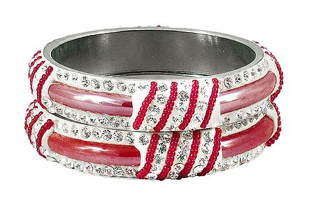 Pair of Light Red Metal Bangles with Stone and Beads