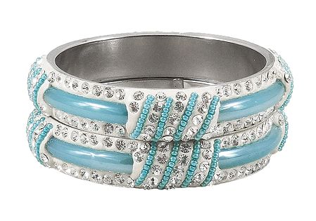 Pair of Light Blue Metal Bangles with Stone and Beads