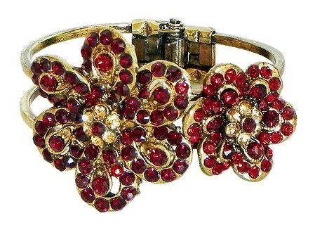 Red Stone Studded Oxidised Metal Hinged Bracelet
