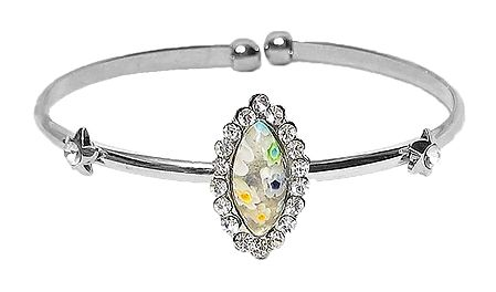 White Stone Metal Cuff Bracelet