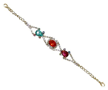 Green and Red Stone Studded Metal Bracelet