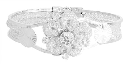 Stone Studded Hinged Bracelet with Metal Flower