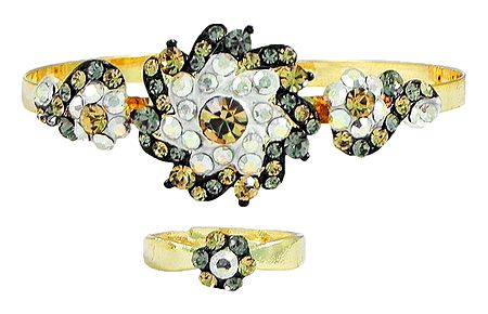 Yellow, Grey and White Stone Studded Cuff Bracelet and Adjustable Ring
