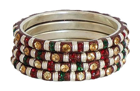 Four Red, Green and Peach Color Stone Studded Bangles