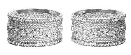 Set of 2 White Stone Studded Metal Churi