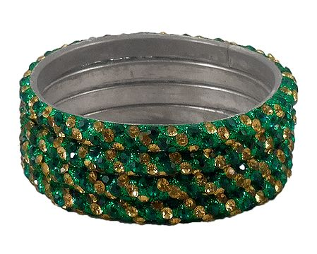4 Green and Golden Stone Studded Metal Bangles