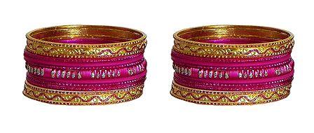 Set of 2 Magenta and Golden Glitter Metal Churi