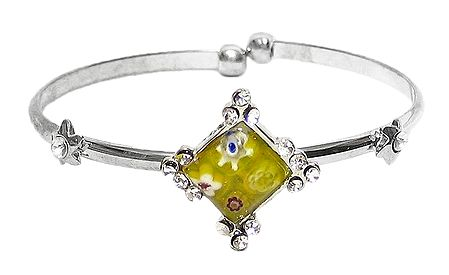 Yellow Stone Metal Cuff Bracelet