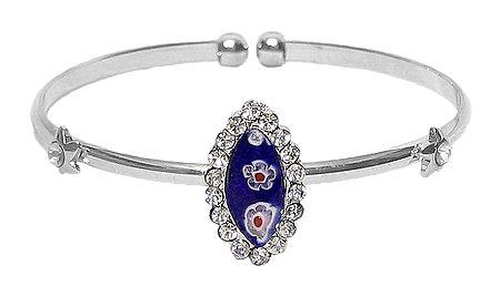 Blue Stone Metal Cuff Bracelet