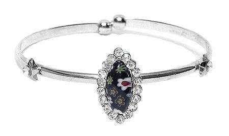 Black Stone Metal Cuff Bracelet