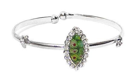 Green Stone Setting Metal Cuff Bracelet