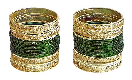 Set of 2 Glitter Dark Green with Golden Bangles