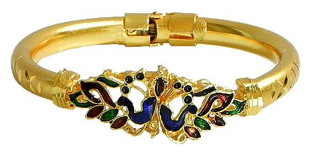 Meenakari Peacock Design Gold Plated Hinged Bracelet