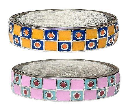 Set of 2 Laquered Hinged Bracelet