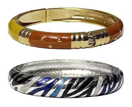 Set of 2 Metal Hinged Bracelets