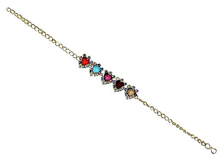 Multicolor Stone Studded Tennis Bracelet