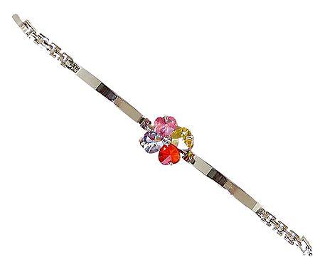 Multicolor Stone Studded Tennis Metal Bracelet