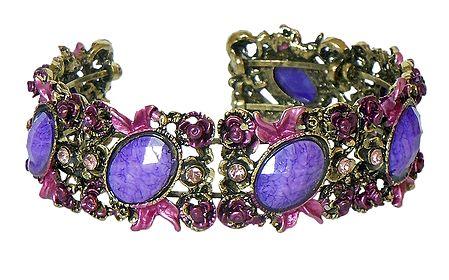 Mauve Stone Studded Oxidised Metal Designer Cuff Bracelet