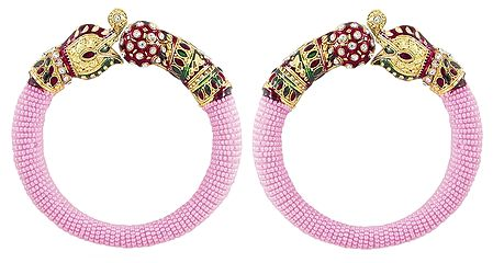 Set of 2 Pink Bead Cuff Bangles with Gold Plated Elephant Head
