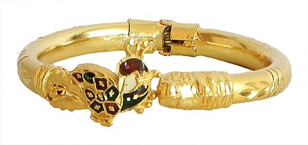 Meenakari Peacock Design Stone Studded and Gold Plated Hinged Bracelet
