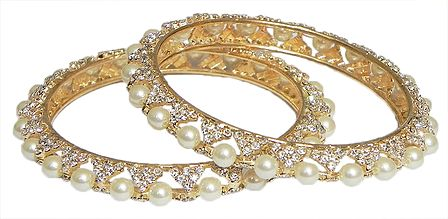 Pair of Gold Plated Bangles with Pearl and White Stones