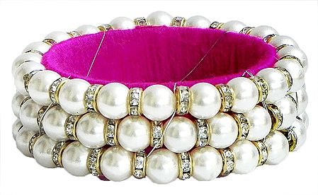 White Stone Studded and Faux Pearl Bead Bracelet with Magenta Cloth Lining