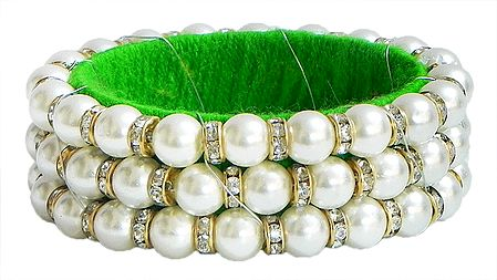 White Stone Studded and Faux Pearl Bead Bracelet