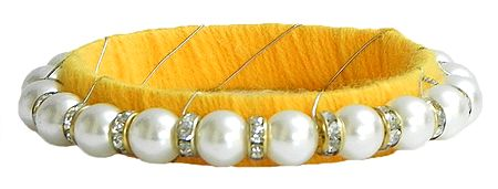 White Stone Studded and Faux Pearl Bead Bracelet with Yellow Cloth Lining