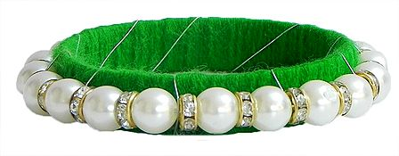 White Stone Studded and Faux Pearl Bead Bracelet with Green Cloth Lining