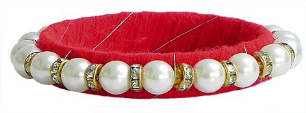 White Stone Studded and Faux Pearl Bead Bracelet with Red Cloth Lining