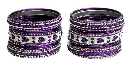 Set of 2 Stone Studded Purple with Silver Metal Bangles