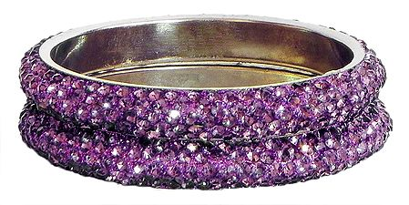 Pair of Mauve Stone Studded Bangles