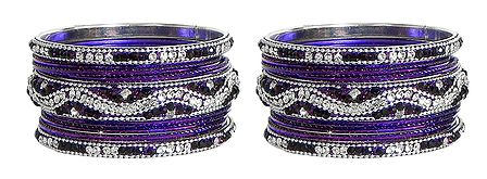 Set of 2 White Stone Studded Purple Metal Bangles