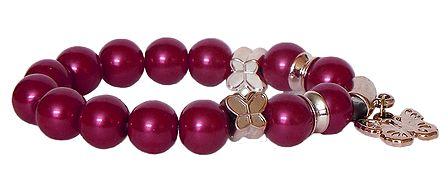 Red Beaded Stretch Charm Bracelet