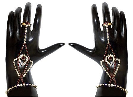 Pair of Faux Zirconia and Garnet Studded Ring Bracelet