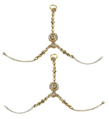 Pair of Kundan Ring Bracelet